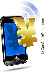 intelligent, cellule, téléphone portable, payer
