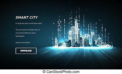 intelligent, cityand, arrière-plan., sombre, constellation., binaire, points, bas, code., vecteur, ville, 3d, poly, résumé, wireframe, lignes, plexus, couler, particles., polygonal, concept