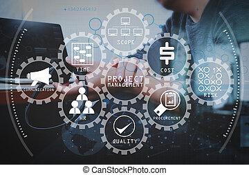 intelligent, communication, soutien, utilisation, bureau, casque à écouteurs, amarrage, informatique, client, tablette, il, service, centre, aide, voip, numérique, clavier, homme, appeler, concept