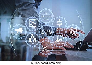 intelligent, communication, soutien, utilisation, casque à écouteurs, amarrage, informatique, bureau, client, tablette, il, service, centre, effet, aide, filtre, voip, numérique, clavier, homme, appeler, concept