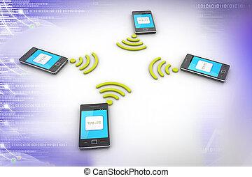 intelligent, concept., téléphone, sans fil, technology.