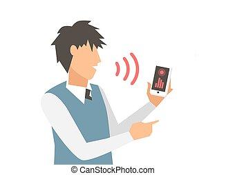 intelligent, contrôle, voix, informatique, vecteur, ...