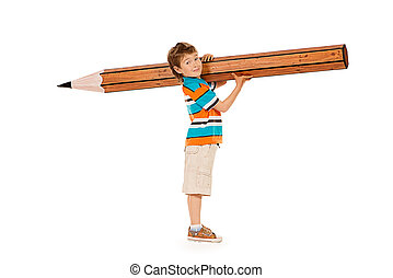intelligent - Cute boy standing with a huge pencil....