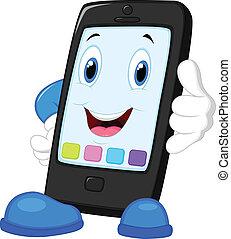 intelligent, dessin animé, appeler, téléphone