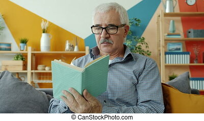intelligent, divan, lecture, homme, lunettes, maison, ...