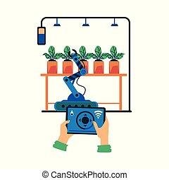 intelligent, ferme, irrigation, agricole, vecteur, plat, technologie, avancé, illustration.