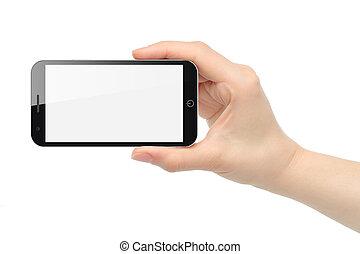 intelligent, fond, isolé, téléphone, tient, main, blanc