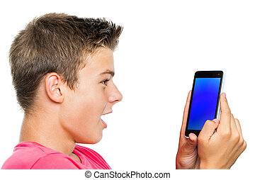 intelligent, garçon, téléphone, surprised., adolescent, regarder