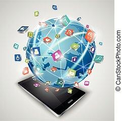 intelligent, globe, connexions, téléphones