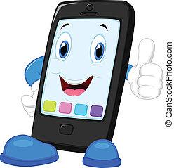 intelligent, haut, pouce, téléphone, dessin animé, donner