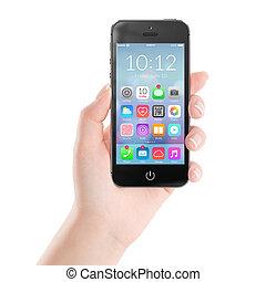intelligent, icônes, coloré, mobile, noir, téléphone, application