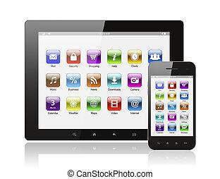 intelligent, icônes, tablette, fond, téléphone, pc, blanc