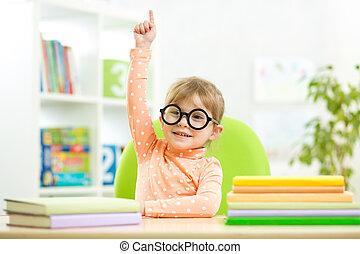 intelligent, intérieur, livres, enfant, girl, gosse