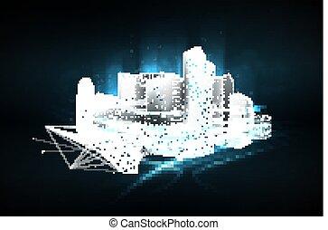 intelligent, internet trafiquent, sombre, arrière-plan., points, bas, particules, vecteur, communication, réseau, gestion, ville, poly, numérique, wireframe, system., lignes, plexus, constellation., concept