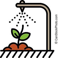 intelligent, irrigation, style, contour, icône