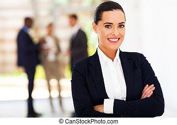 intelligent, jeune, femme affaires