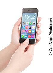 intelligent, mains, tenue, coloré, femelle noire, téléphone, application