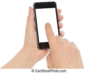 intelligent, mains, tenue, fond, isolé, téléphone, blanc