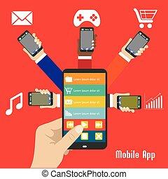 intelligent, mobile, illustration, app, téléphone, main humaine