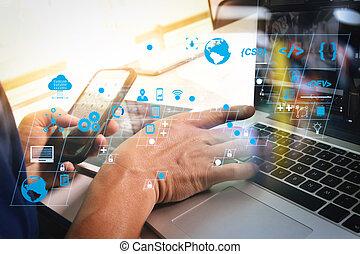 intelligent, moderne, photo, using., concept., concepteur, informatique, nouveau, studio., tablette, progrès, haut, soleil, téléphone, conception, travail, idée, ordinateur portable, effet, tâche, numérique, fonctionnement, projet, début, homme, créatif, flamme