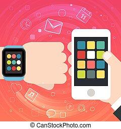 intelligent, montre, et, smartphone, synchro