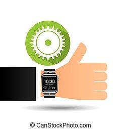 intelligent, montre, sur, hand-, progrès, engrenage