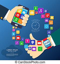 intelligent, montre, synchro, affiche