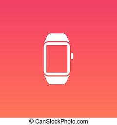 intelligent, montre, vecteur, plat, conception, icône