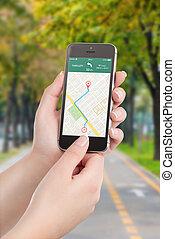 intelligent, navigation, téléphone, application, écran, gps, carte