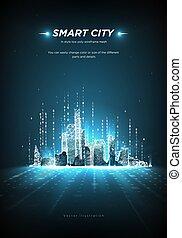 intelligent, ou, connecté, points, bâtiment, espace, code, avenir, arrière-plan., automation., binaire, bas, vecteur, metropolis., lines., handcity, ville, intelligent, poly, stream., résumé, bleu, wireframe, polygonal