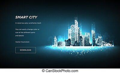 intelligent, ou, connecté, points, business, bâtiment, espace, système, automation, avenir, arrière-plan., bas, concept., metropolis., vecto, lines., ville, intelligent, poly, résumé, bleu, wireframe, polygonal