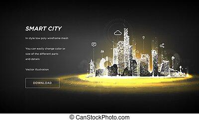 intelligent, ou, connecté, points, business, bâtiment, espace, système, automation, technologie, sombre, arrière-plan., salut, bas, concept., metropolis., ville, intelligent, poly, résumé, wireframe, lignes, polygonal