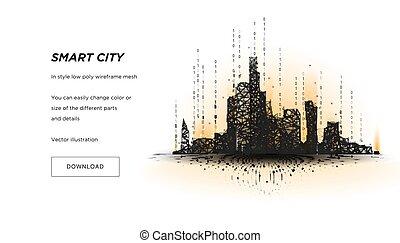 intelligent, ou, connecté, points, business, bâtiment, espace, système, automation, technologie, arrière-plan., salut, bas, concept., vec, metropolis., lines., ville, intelligent, poly, résumé, wireframe, polygonal, blanc