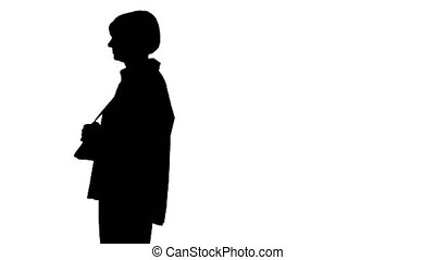 intelligent, personne agee, silhouette, by., marche, femme