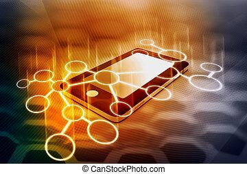 intelligent, réseau, communication, téléphone