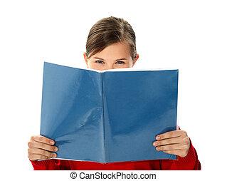 Intelligent school girl reading study book - Intelligent...