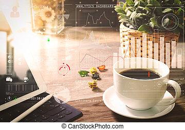 intelligent, stylus, filtre, café, numérique, clavier, vase, bois, herbes, tasse, table, dock, stylo, fleur, table, effet