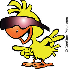 intelligent, sunglass, poulet