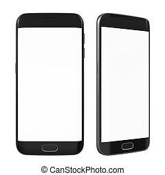 intelligent, téléphone, à, écran blanc, isolé