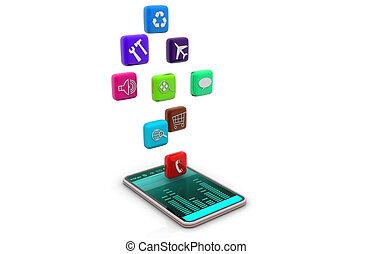 intelligent, téléphone, à, apps