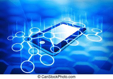 intelligent, téléphone, à, communication, réseau