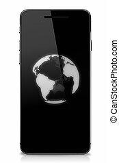 intelligent, téléphone, à, globe, sur, écran tactile