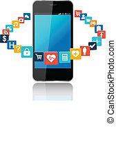 intelligent, téléphone, à, nuage, de, application, icônes