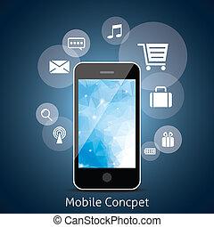 intelligent, téléphone, à, nuage, de, média, app