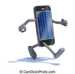 intelligent, téléphone, énergie solaire