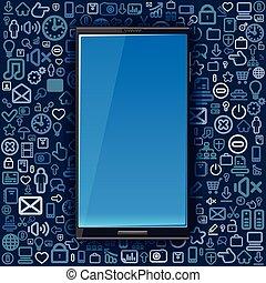 intelligent, téléphone, arriere-plan, depuis, média, icons.