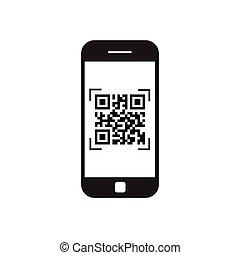 intelligent, téléphone, balayage, qr, code, icône, barcode, balayage, à, téléphone