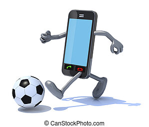 intelligent, téléphone, cela, jeu, football
