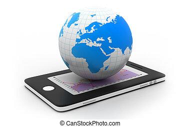 intelligent, téléphone, mondiale
