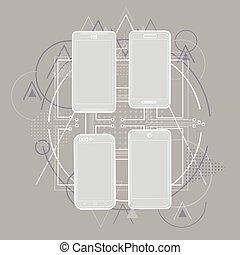intelligent, téléphone portable, croquis, ligne, téléphone, résumé, triangulaire